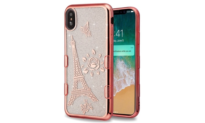 Tuff Eiffel Tower Hybrid Electroplating Rubber Case For Iphone Xs