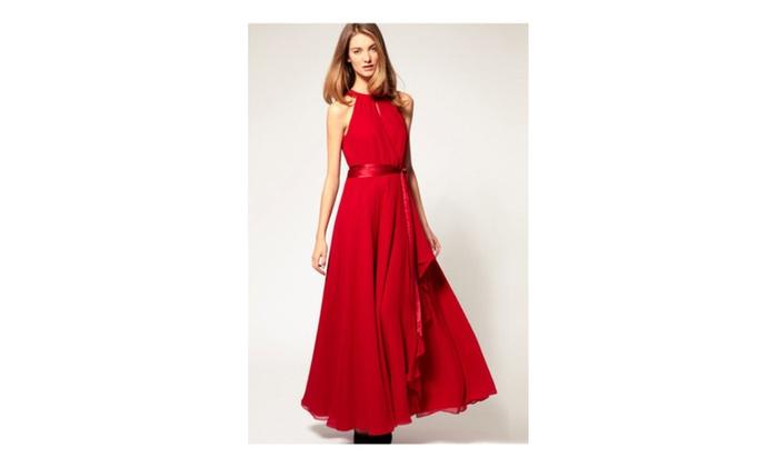 52d5f8af31c Unomatch Women Strapless Binding Waist Plus Size Dress - UWD285 - Red   16