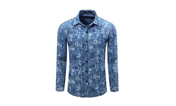 Men's Long Sleeve Jeans Print Lapel Dress Shirt FM081