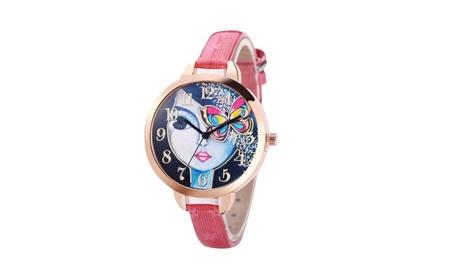 Beautiful Pattern Leather Band Analog Round Quartz Watch for Women bc10fa9c-5806-46db-8396-8585ca9348f2