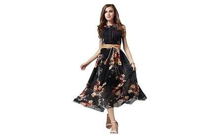 Women's Sleeveless High-Waist Printed Chiffon Dress - UWD214 29864635-bb69-468f-959d-ffef38136c1d
