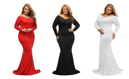 Women's Plus Size Off Shoulder Long Sleeve Formal Gown c15a0c48-04a0-44ce-8aa1-9456041bcbf3