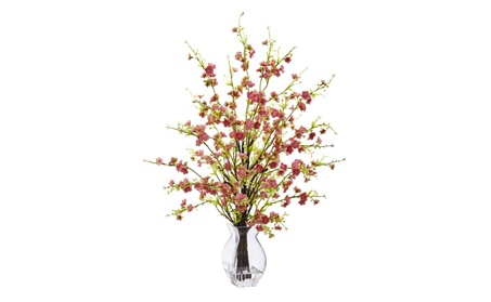 Nearly Natural Artificial Flora Cherry Blossom in Glass Vase d3446b7a-37ac-4868-b270-635afce09ac6