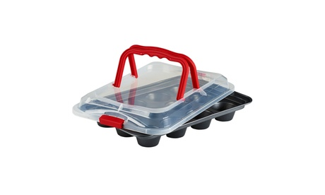 Bakers Advantage 12 Cup Cupcake Pan and Carrier with Lid d0b3b6bd-e1ba-4b23-b500-be9672ae227c