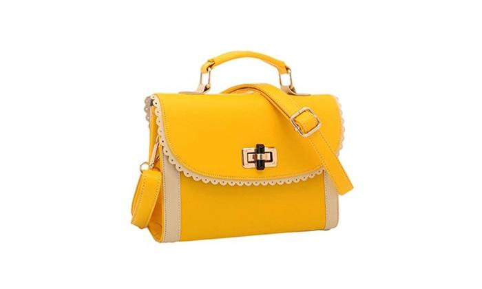 Jollychic Women LovelyPU Cross Body Handbags Shoulder Messenger Bags - Yellow / One Size