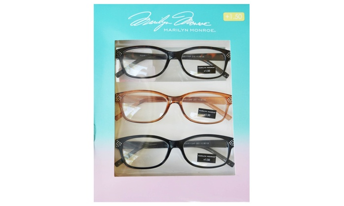 385fe22cb301 Marilyn Monroe Rhinestone Detailed Reading Glasses 3 Pack Readers + ...