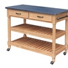 Savannah Natural Kitchen Cart with Stainless Steel Top