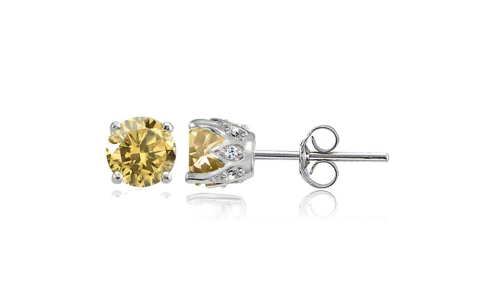 Groupon Goods Sterling Silver Citrine And White Topaz Crown Stud Earrings