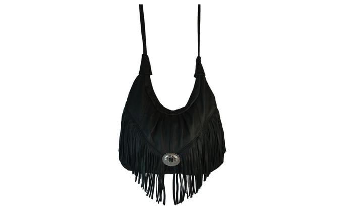 Boho Pebbled Leather Large Fringed Hobo Purse in Black