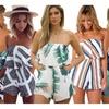 Womens Off Shoulder Romper Floral Print Striped Jumpsuit Playsuit