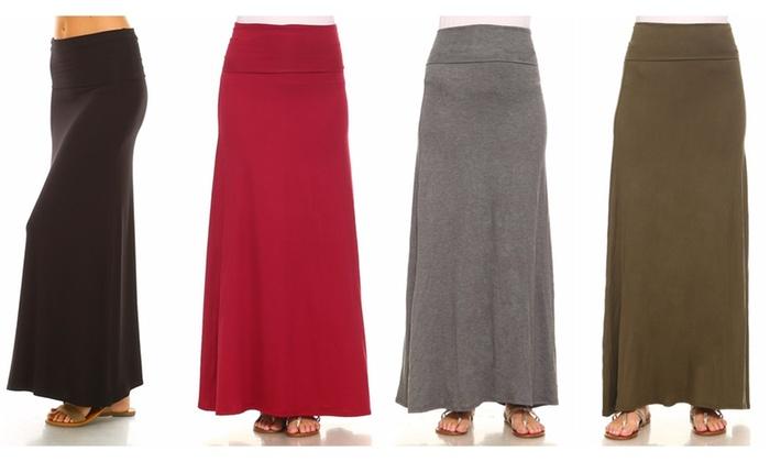 a107938b0385 Isaac Liev Women's Fold-Over Waist Maxi Skirt (4-Pack)   Groupon