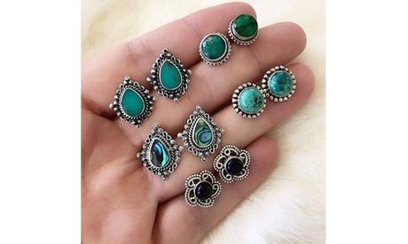 5 Pairs/Set Vintage Woman Crystal Silver Geometric Stud Earrings Set