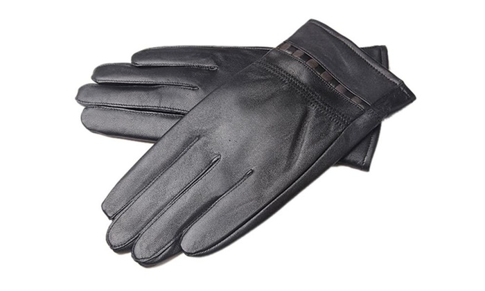 Men's Lambskin Motocycle Driving leather Gloves for Winter