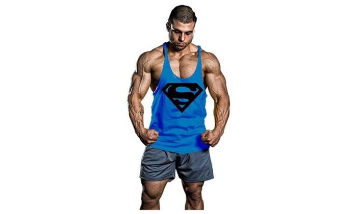 Men's BodyBuilding S Logo Tank Top Stringer Gym Shirt