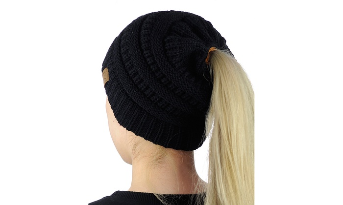 84ae09f5b48 C.C BeanieTail Soft Stretch Cable Knit Messy High Bun Ponytail Beanie