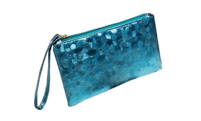 PU Leather Simple Clutch Blue Handbag