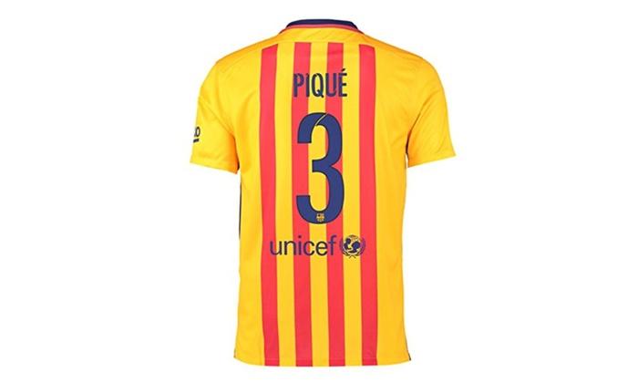 4b34720ced0 Mens Barcelona Away Stadium Jersey Gold Pique 3   Groupon