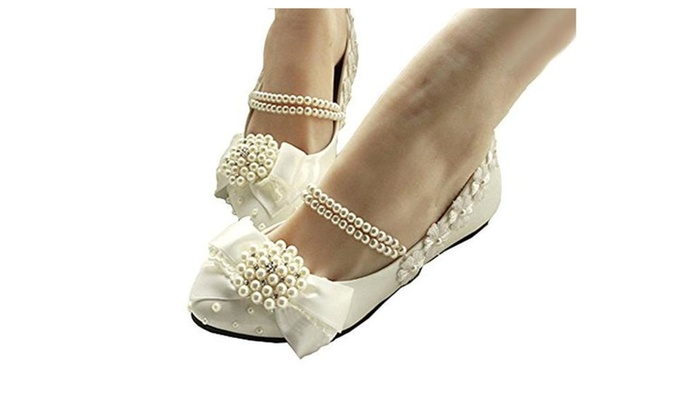 Women's Mary Jane Flats Pearls Bows Across Tops Dress Wedding Shoes
