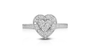 1/10cttw Genuine Diamond Heart Vintage Style Ring in Sterling Silver