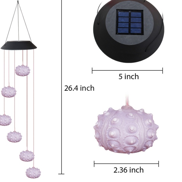 1x Sea Urchin Shell North Sea with colour changing solar light for garden  OFFER