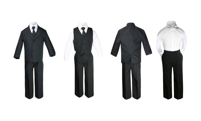 Unotux: Baby Boy Formal Party Black Tuxedo Suit Silver Satin Bow tie Sm-20