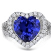 Natalia Drake Blue Crystal and Cubic Zirconia Large Heart Frame Ring