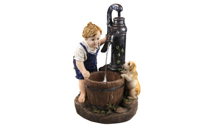 Alpine Boy And Dog Fetching Water Garden Fountain W Led Light 26 Inch Tall