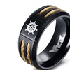 Black Rudder Punk Style Stainless Steel Ring for Men