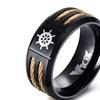 Stainless Steel Black Rudder Punk Style Ring For Men