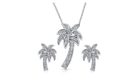 Bling Jewelry 925 Silver Pave CZ Palm Tree Pendant and Earrings Set 6a3f650e-6cc8-4e3b-96bb-b392a814c2e1