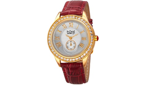 Burgi Women's Quartz Swarovski Crystal Leather Strap Watch BURGP144 05368f18-d9d9-48fe-a7be-186b8a812e9a