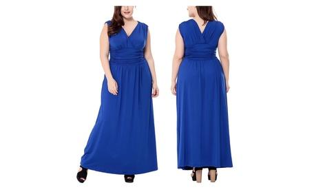 Women'S Double V-Neck Sleeveless Girdling Casual Party Maxi Dress 61109161-c990-4595-bdfa-47d957cdc024
