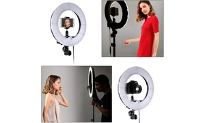"""12""""LED 5500K Dimmable Continuous Lighting Photo Video Stand Ring Light"""