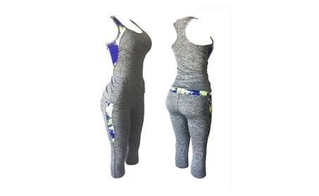 Black Geometric Side Women's Sports Yoga Workout Set of 2 Top and cb100010-3887-4133-b7ac-80c95f75f23a