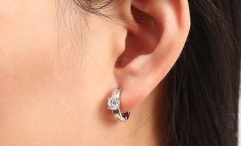 14k White Gold Huggie Earring Made with Swarovski crystal