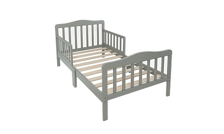Wood Kids Bed Frame Toddler Bed Children Bedroom W/safety rail Fence
