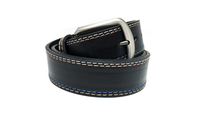 Men's Color Stitched Thick Leather Belt Grey Metal Buckle
