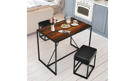 Costway 3pcs Dining Set Metal Frame Kitchen Table and 2 Stools Home Breakfast