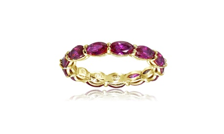 Yellow Gold Flashed Silver Created Ruby 5x3mm Oval-cut Eternity Band Ring cd3637cf-d338-431e-a72a-7c438a482475