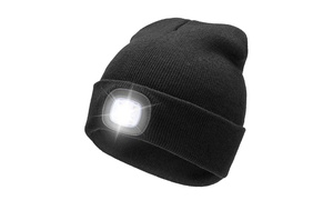 Extremely Bright LED Lighted Beanie Cap, Unisex USB Rechargeable