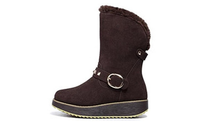 MILANAO Women's Princess Plush Leather Wedge Snow Boots