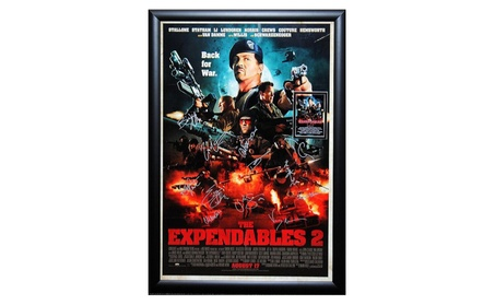 Expendables 2 - Signed Movie Poster in Wood Frame with COA 219d4786-70c3-4cd5-aa6d-3fe15a665ee6