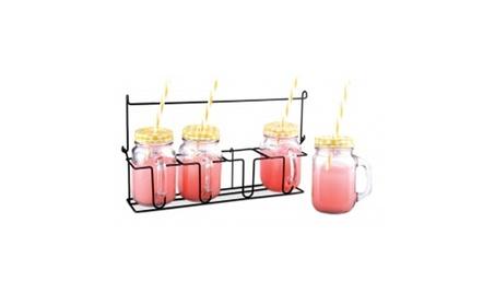 Glass Drinking Mason Jar Set with Metal eca0b46d-c82a-4ef0-9485-365a77d3aa5a