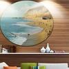 The Calm Beach' Landscape Painting Circle Metal Wall Art