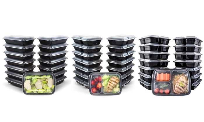 meal prep bento lunch boxes with lids 30 piece set livingsocial. Black Bedroom Furniture Sets. Home Design Ideas
