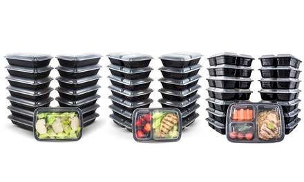 meal prep bento lunch boxes with lids 30 piece set groupon. Black Bedroom Furniture Sets. Home Design Ideas
