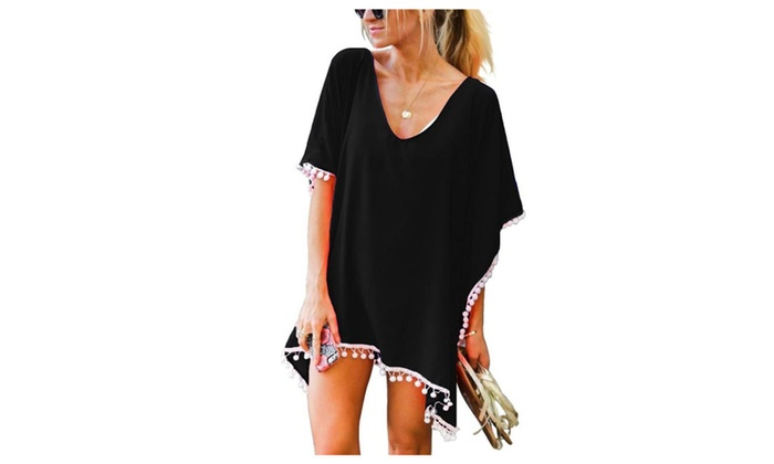 39b3e917cf Pom Pom Trim Kaftan Chiffon Swimwear Beach Cover Up | Groupon