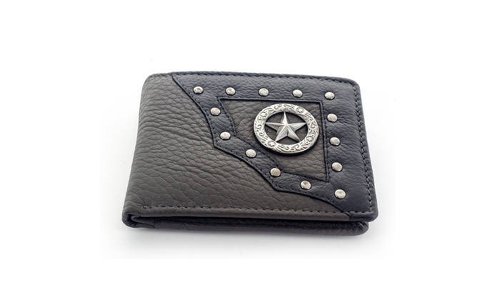 Faddism Men's Leather Bifold Wallet WLT-MC483 in Grey
