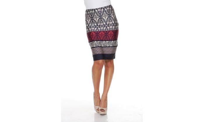 Beige/Navy Pretty & Proper Pencil Skirt