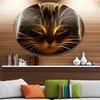 Glowing Fractal Cat Illustration' Ultra Vibrant Animal Metal Circle Wall Art
